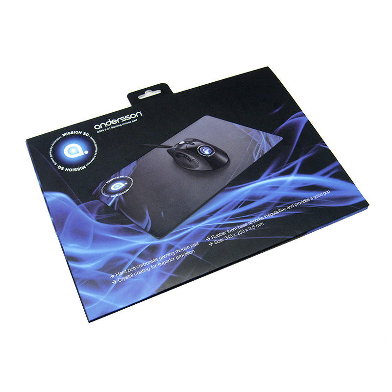 Extend Large Hard Gaming Mouse Pad with ABS Rigid Surface for Optimized Tracking , Non-Slip Rubber Grip , & Black and Blue De