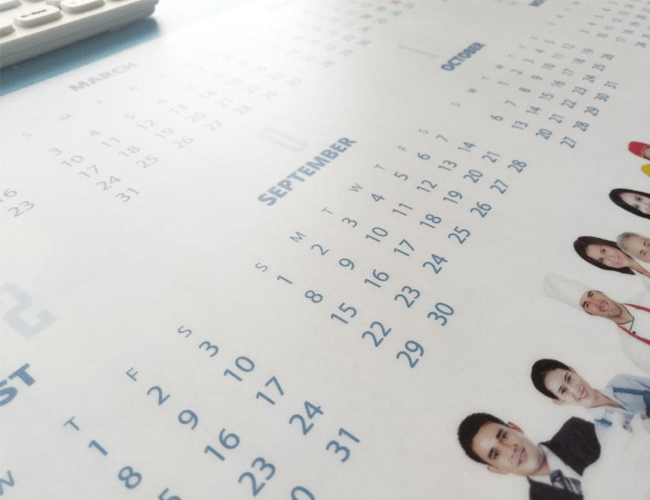 2019 Calendar desk mat PVC top with EVA bottom promotion mouse pad