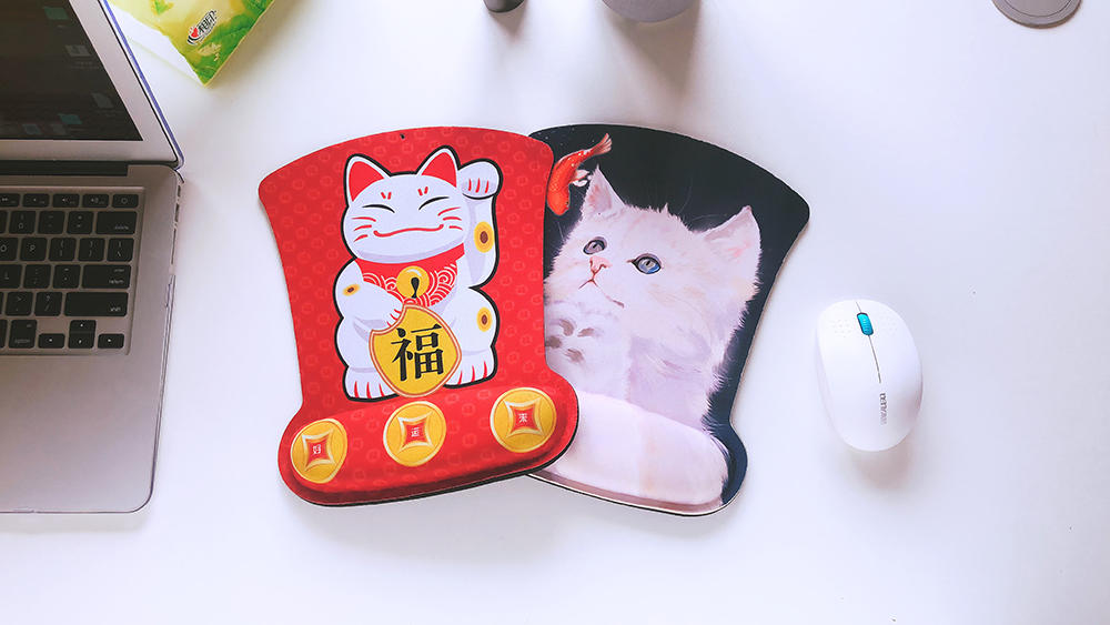 Good Luck Cartoon Cat Ergonomic Memory Foam Rest Cushion Mouse Pad suited for home,office and travel