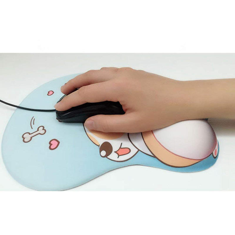 Cute anime 3D Mouse Pad Ergonomic Soft Silicon Gel  Mouse pad with Wrist Support Cute Corgi Dog Mouse Mat for Girls (Pink)